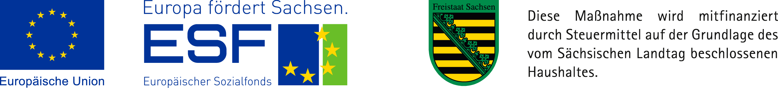 Logo Förderung ESF und Land Sachsen